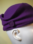 Violet Wool Hand-Stitched Sculpted Cloche Style Hat