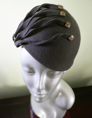 Taupe Hand Blocked Wool Hat with Vintage Buttons