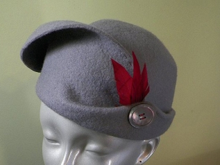 Gray Hand Blocked Wool Hat with Feather & Mother of Pearl Button