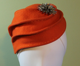 Orange Wool Sculptural Woman'sHat
