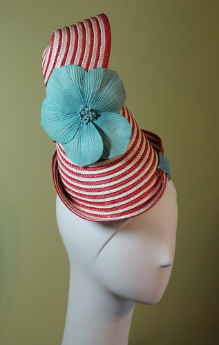 Red White Striped Straw Conical Hat with Blue Flower