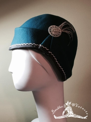 Custom designed peacock blue wool women'scloche